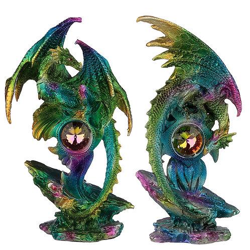 Crystal Geode Metallic Rainbow Dragon Figurine Novelty Gift
