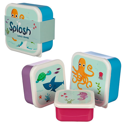 Cute Sealife Design Set of 3 Plastic Lunch Boxes Novelty Gift