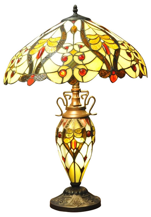 Cream/Red Bullets Double Tiffany Lamp 68cm Shipping furniture UK