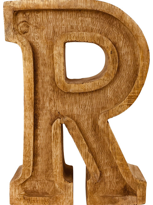 Hand Carved Wooden Embossed Letter R Shipping furniture UK