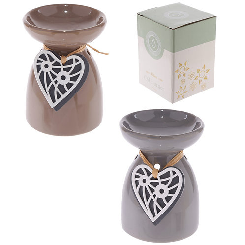 Ceramic Oil Burner - Wooden Heart Motif Novelty Gift