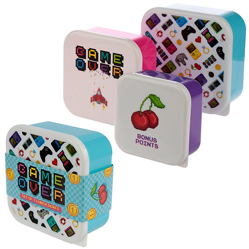 Fun Game Over Design Set of 3 Plastic Lunch Boxes Novelty Gift