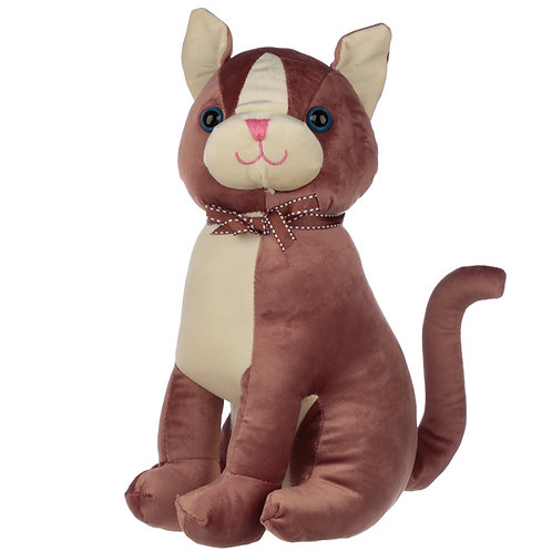 Interior Door Stop - Brown Cat with Ribbon Novelty Gift