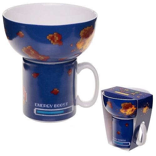 Children's Porcelain Mug and Bowl Set - Retro Gaming Design Novelty Gift