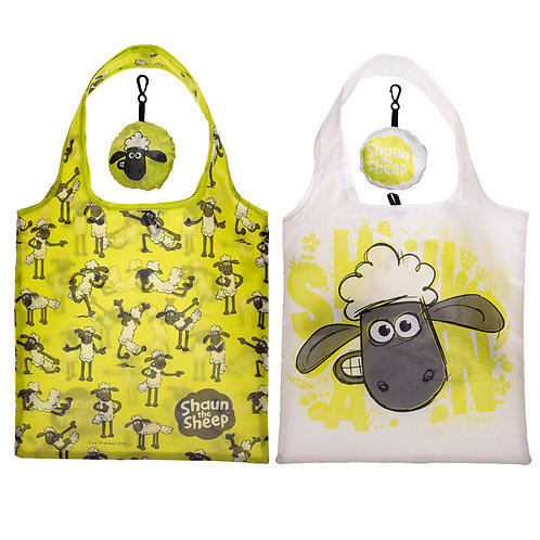 Handy Fold Up Shaun the Sheep Shopping Bag with Holder Novelty Gift