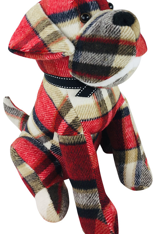 Tartan Fabric Sitting Dog Doorstop Shipping furniture UK