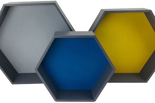Set of 3 Wooden Hexagon Shelves Shipping furniture UK