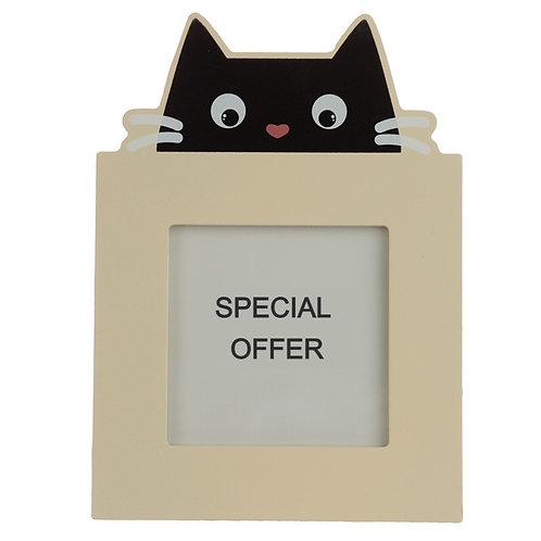 4 x 4 Wooden Photo Frame - Feline Fine Black Cat Novelty Gift