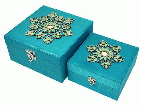 2 x Aqua Jewelled Storage Boxes 18cm & 22cm Shipping furniture UK