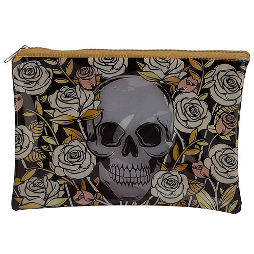 Handy Clear PVC Toiletry Make-up Bag - Skulls and Roses Design Novelty Gift