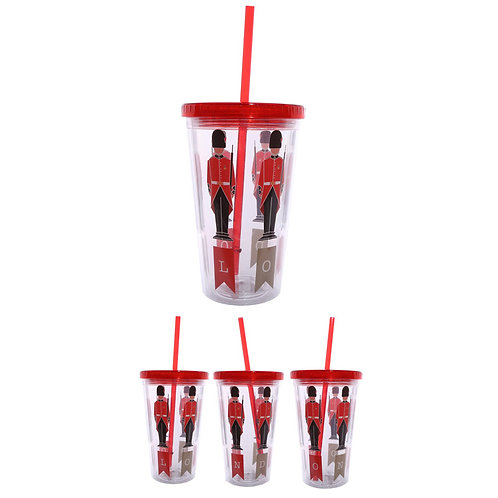 Funky Guardsman Double Walled Cup with Lid and Straw Novelty Gift