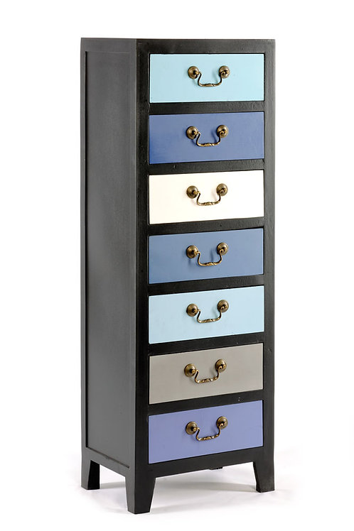 Blue Tall Cabinet with 7 Drawers 38 x 26 x 110cm Shipping furniture UK