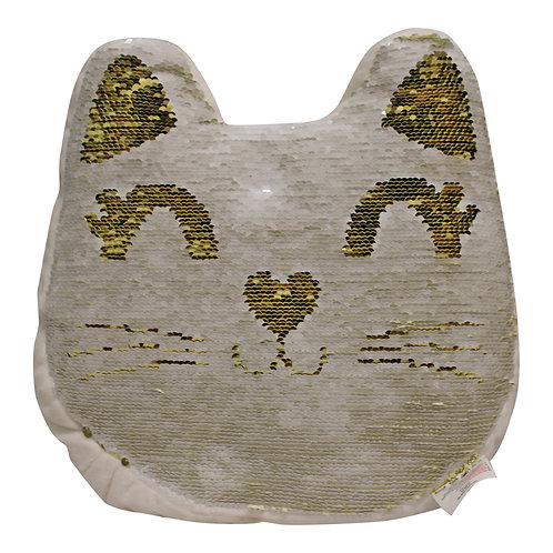 Sequin Cat Cushion, 30cm Shipping furniture UK