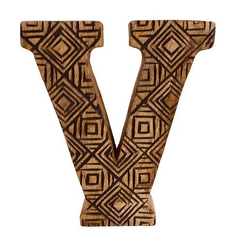 Hand Carved Wooden Geometric Letter V Shipping furniture UK