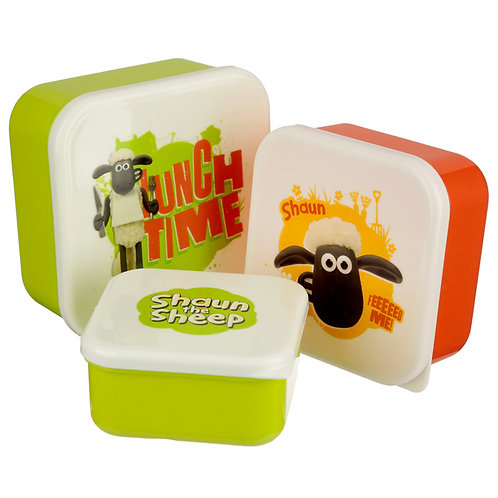 Fun Shaun The Sheep Set of 3 Plastic Lunch Boxes Novelty Gift