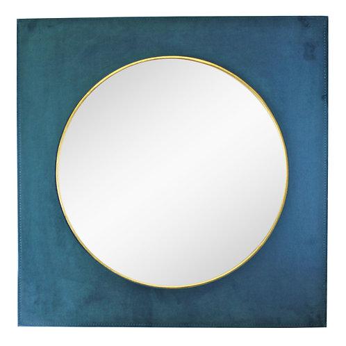 Square Velvet Mirror In Teal Blue, 60cm Shipping furniture UK
