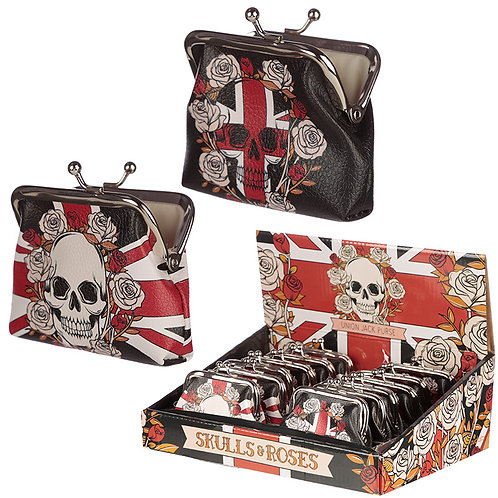 Union Jack Skulls and Roses Tic Tac Change Purse Novelty Gift