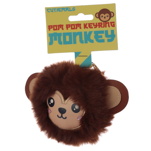 Fun Collectable Pom Pom Keyring - Cutiemals Monkey Novelty Gift
