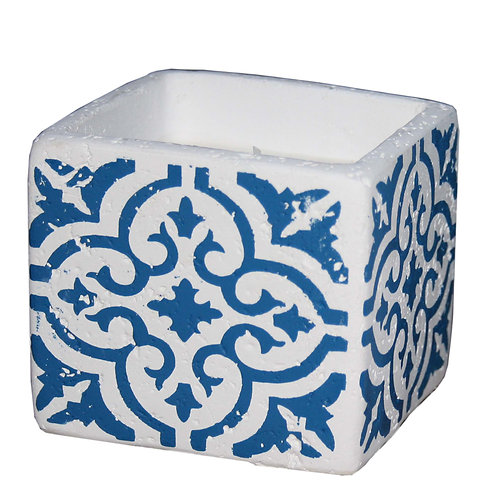 White And Blue Quatrefoil Patterned Cement Candle Pot Shipping furniture UK