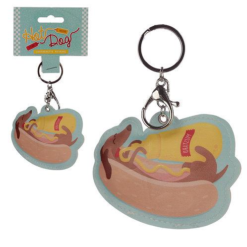 Fun Leatherette Hot Dog Keyring Novelty Gift