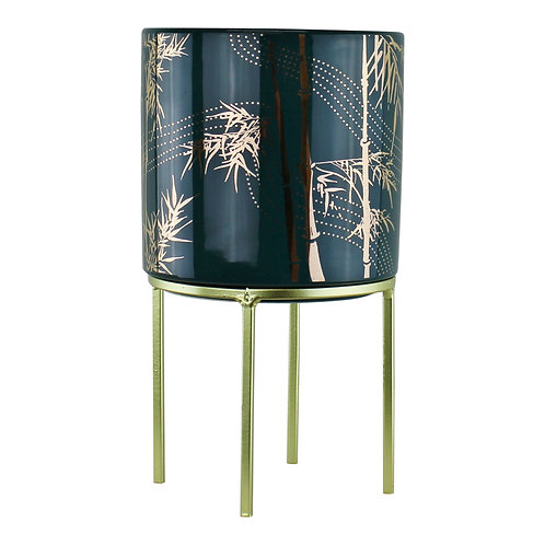 Small Eastern Planter With Stand Featuring Bamboo Design Shipping furniture UK