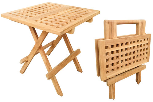 Folding Square Teak Picnic Table With Handle Shipping furniture UK