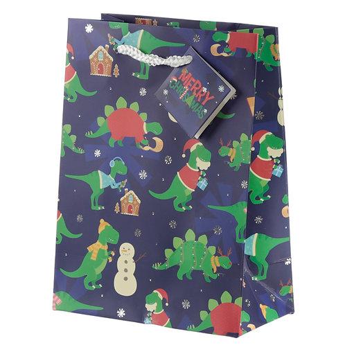 Dinosaur Medium Christmas Gift Bag Novelty Gift