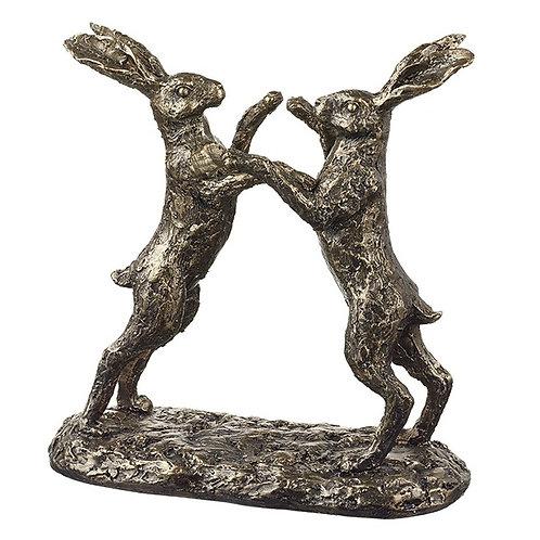 Boxing Hares Bronze 19cm Shipping furniture UK