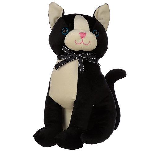 Interior Door Stop - Black Cat with Ribbon Novelty Gift