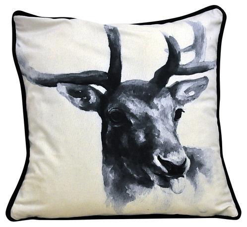 Stags Head Cushion Black 45cm Shipping furniture UK