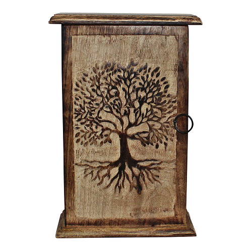 Tree of Life Hand Carved Key Box Shipping furniture UK