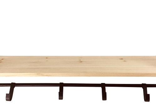 Wooden Shelf with 5 Metal Hooks Shipping furniture UK