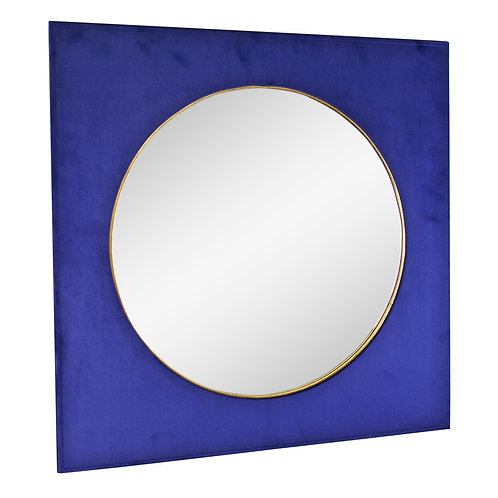 Square Velvet Mirror In Navy Blue, 60cm Shipping furniture UK
