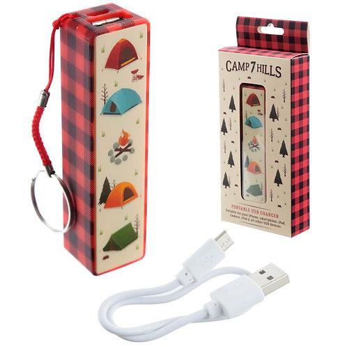 Handy Portable USB Power Bank - Camping Design Novelty Gift
