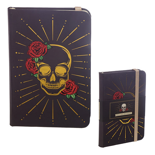A6 Collectable Hardback Notebook - Black and Gold Skull Novelty Gift