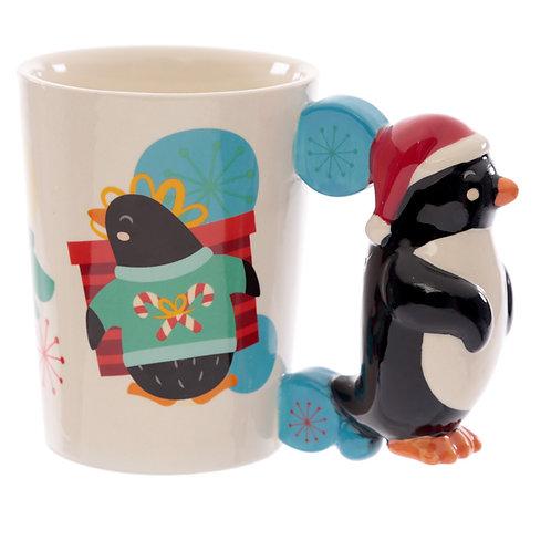Ceramic Penguin Christmas Shaped Handle Mug Novelty Gift