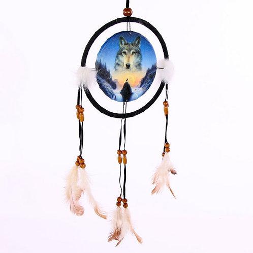 Novelty Gift Decorative Cosmic Wolf Spirit in the Sky 16cm Dreamcatcher