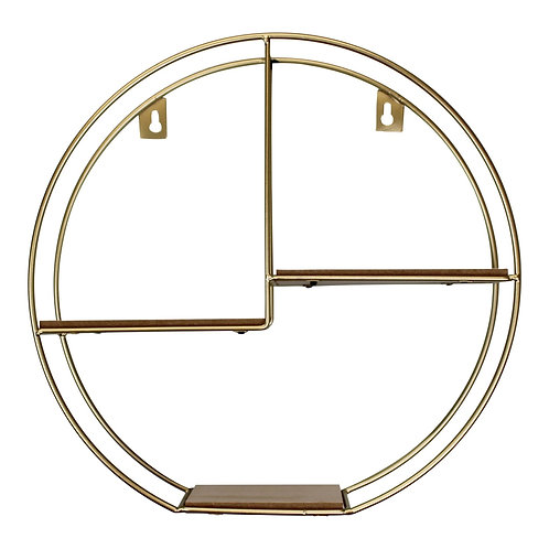 Gold Round Metal Wall Shelf with 3 Shelves, 34cm Shipping furniture UK