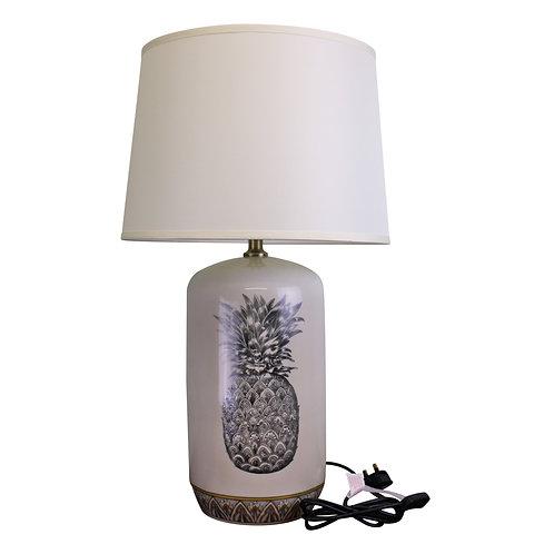 Black & White Ceramic Lamp with Pineapple Design 69cm Shipping furniture UK