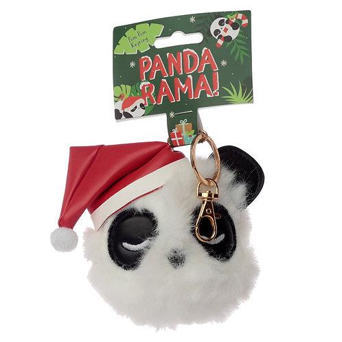 Fun Collectable Pom Pom Keyring - Christmas Pandarama Novelty Gift