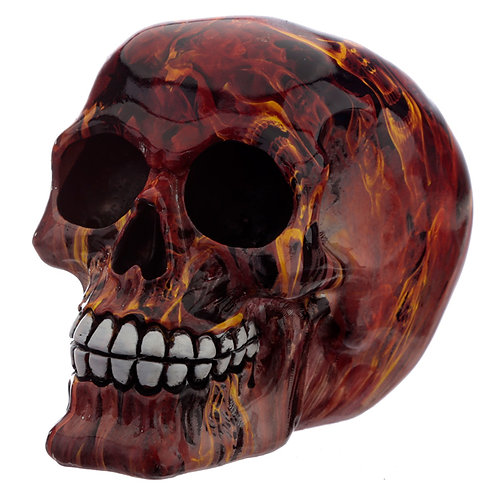 Fantasy Marble Flame Skull Head Ornament Novelty Gift