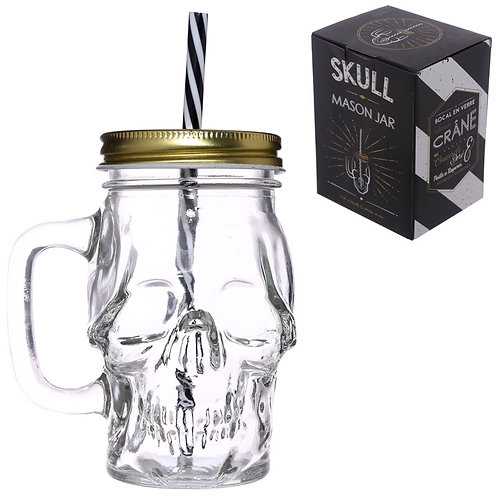 Fun Skull Shaped Glass Drinking Jar with Straw Novelty Gift