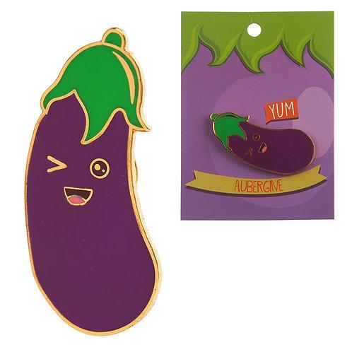 Fun Emotive Aubergine Egg Plant Design Enamel Pin Badge Novelty Gift