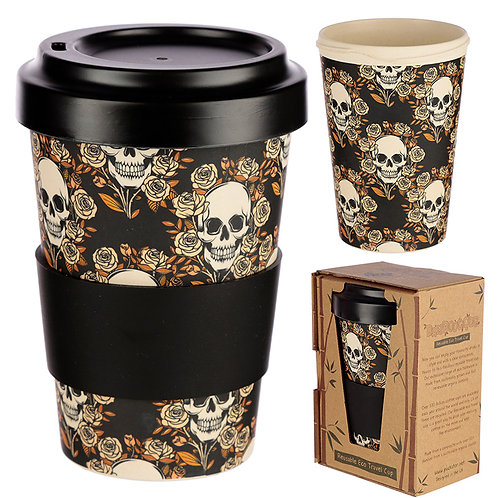 Bamboo Composite Skulls and Roses Travel Mug Novelty Gift