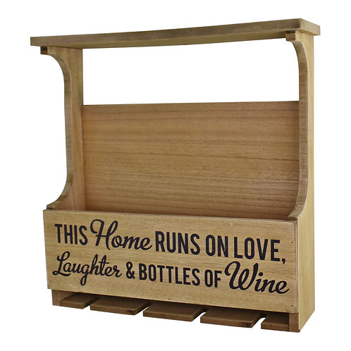 Wall Hanging Wine Bottle & Glass Holder Shipping furniture UK
