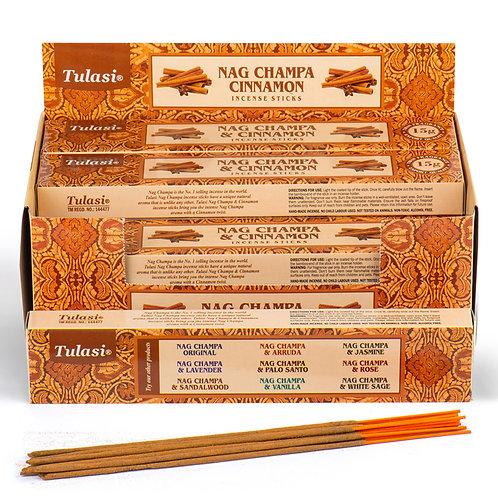 Nag Champa Tulasi Incense Sticks - Cinnamon [Pack of 12] Novelty Gift