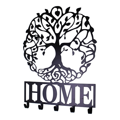 Black Metal Wall Plaque Tree of Life Featuring Hooks Shipping furniture UK