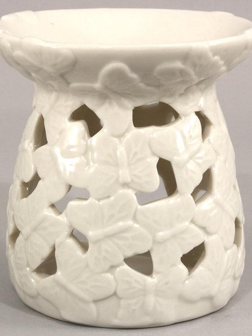 White Embossed Butterfly Oil Burner Shipping furniture UK