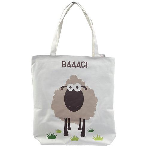 Handy Cotton Zip Up Shopping Bag - Sheep Design Novelty Gift