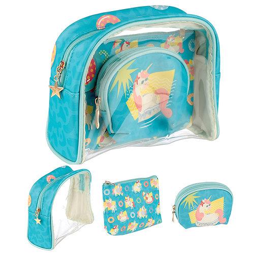 Cute Tropical Unicorn Vanity Bag Set of 3 Novelty Gift